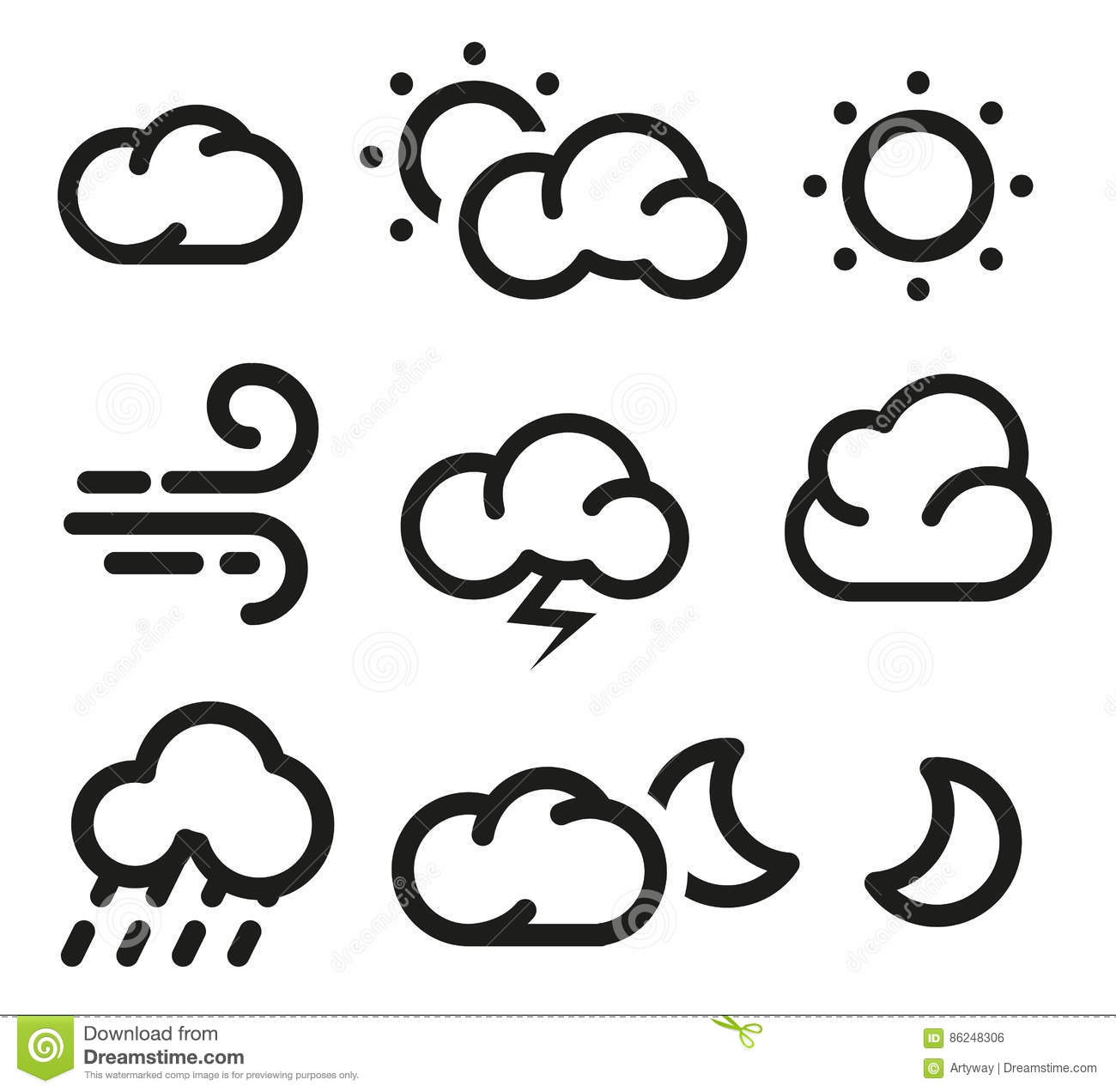 Isolated Black And White Color Elements Of Weather Forecast