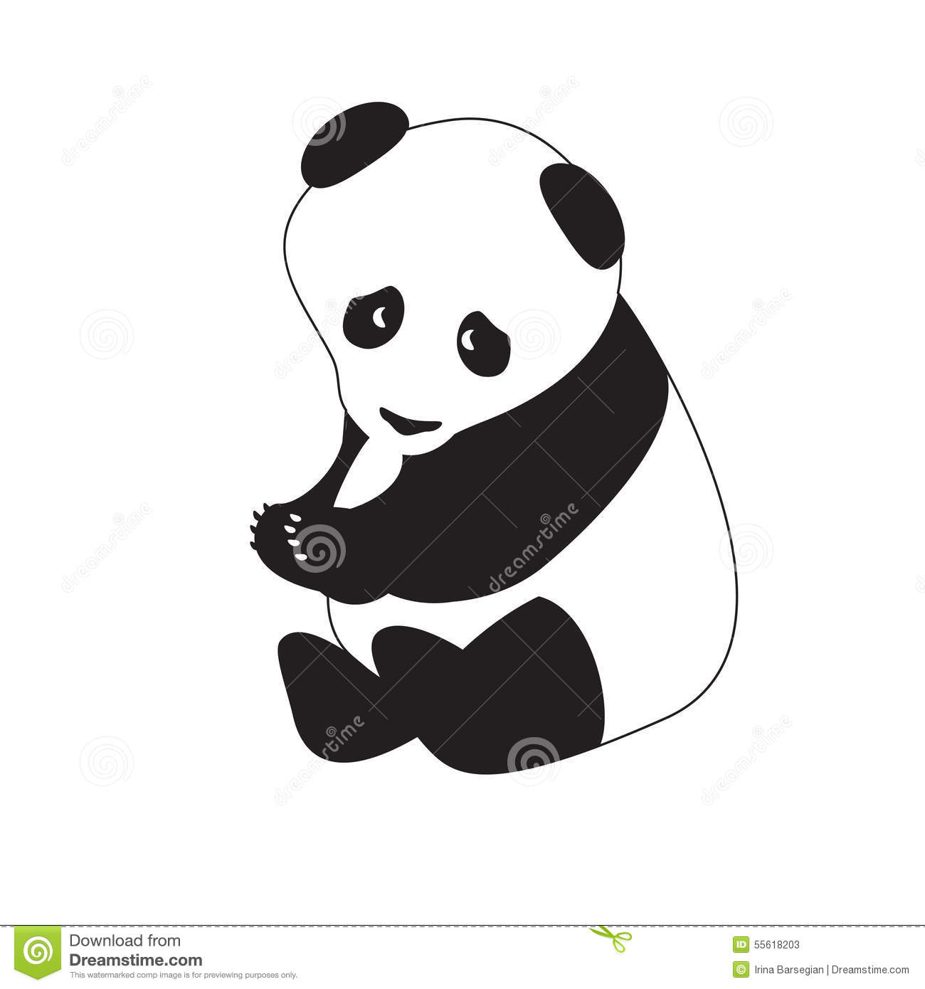 Isolated Black White Pandactor Illustration Stock Vector