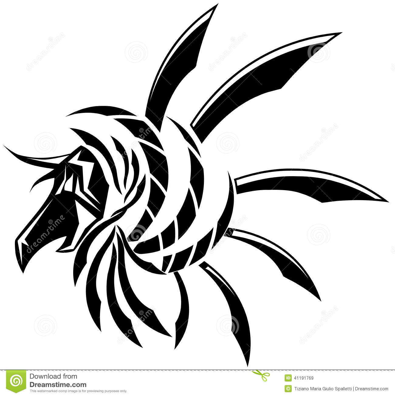 Isolated Black Winged Dragon Tattoo Stock Vector