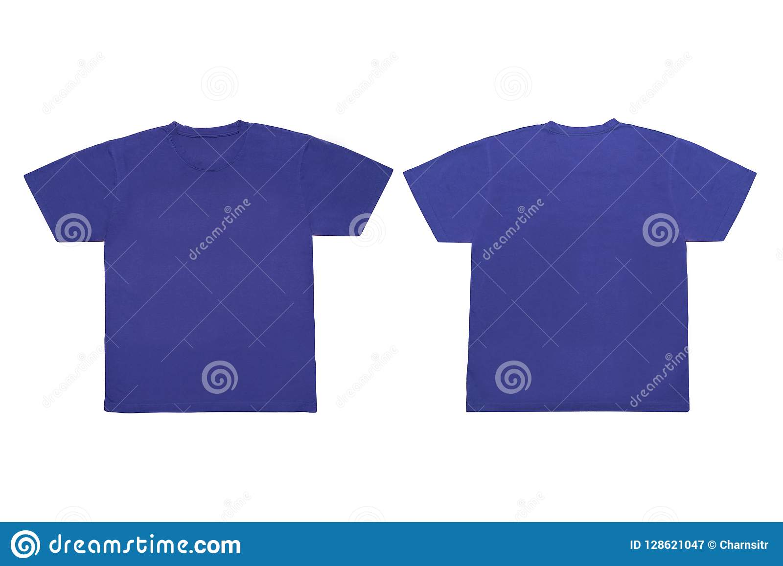 Isolated Blank Blue Front And Back T Shirt Template For Mock