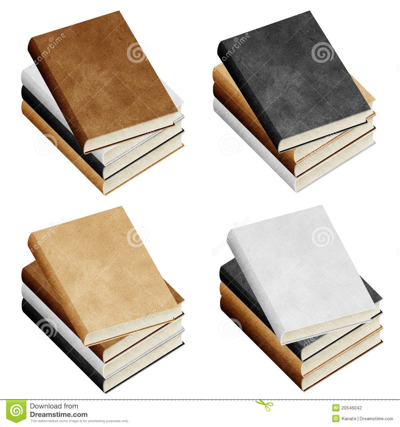 Isolated Blank book recycled paper