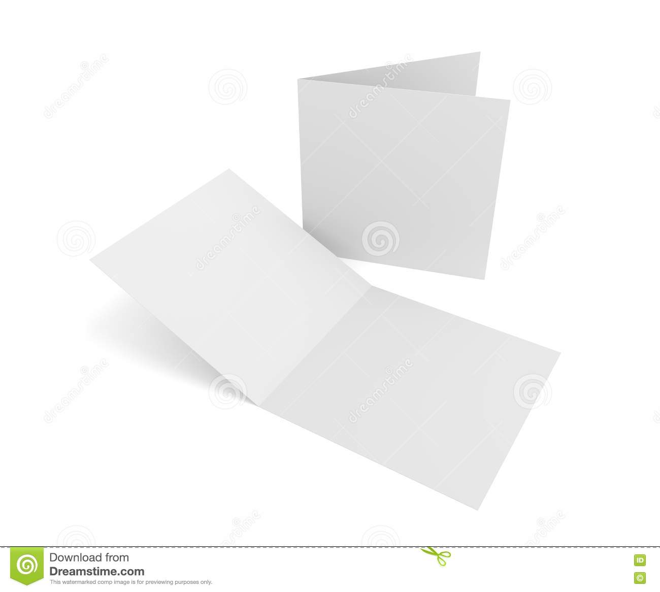 Isolated blank 3d rendering open square greeting cards on white royalty free stock photo kristyandbryce Images