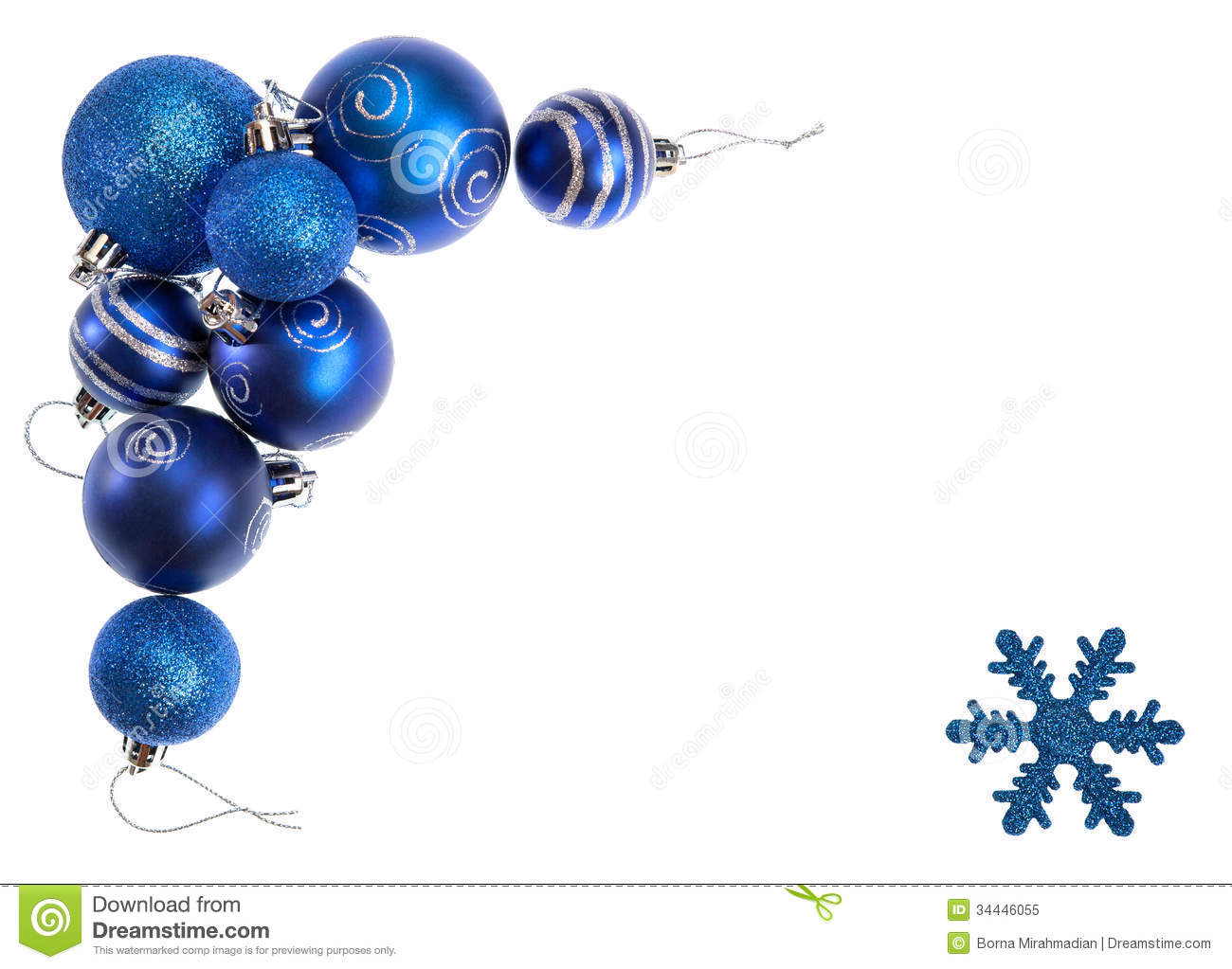 Isolated Blue Christmas Balls And Snowflake Forming Border Of A ...