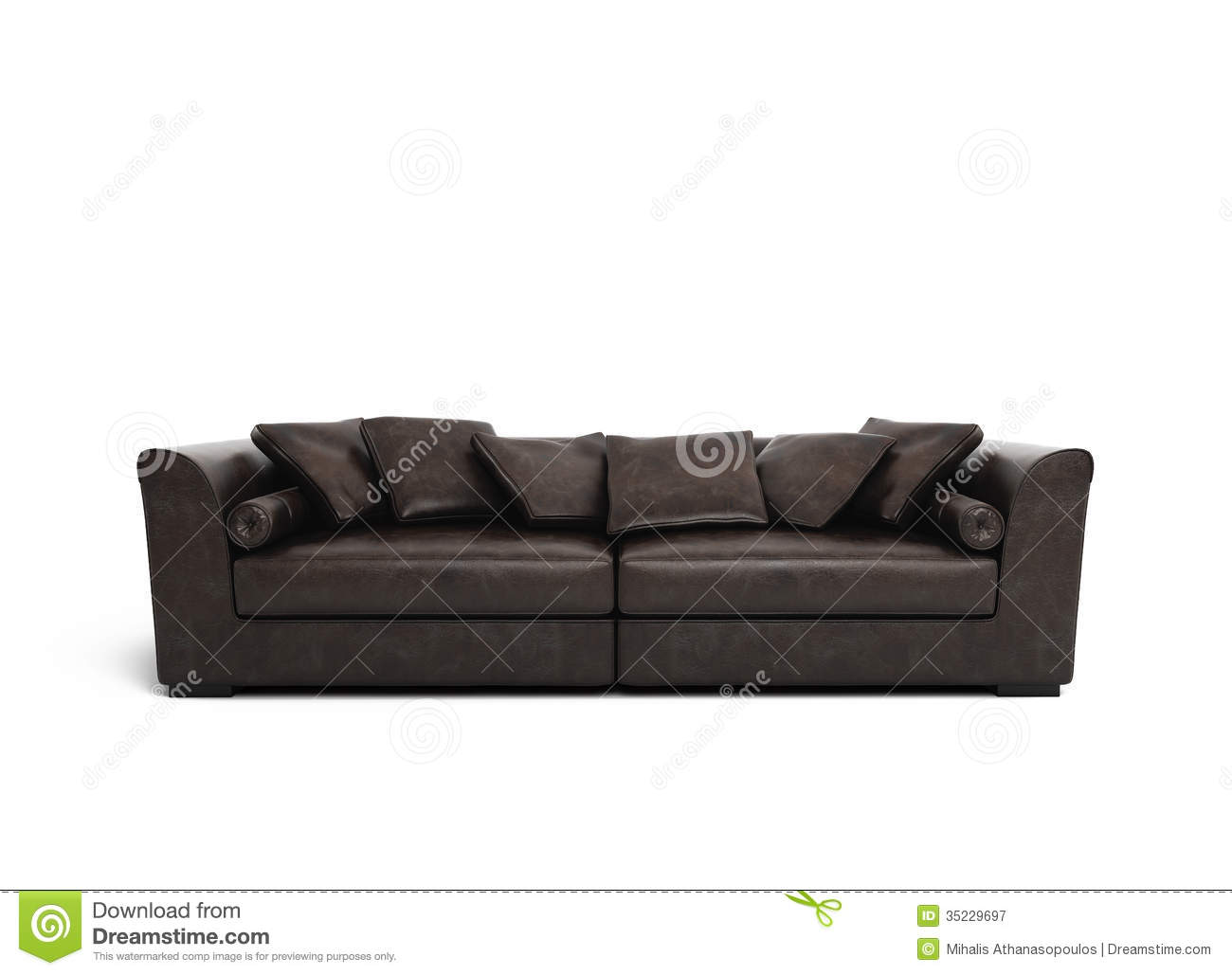 brown leather sofa isolated -#main