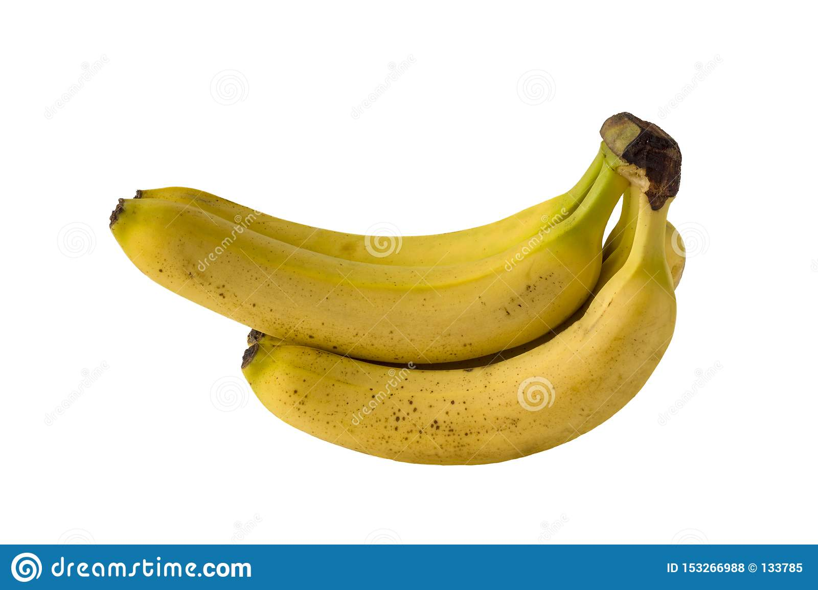 Isolated bunch of bright yellow overripe bananas on a white background