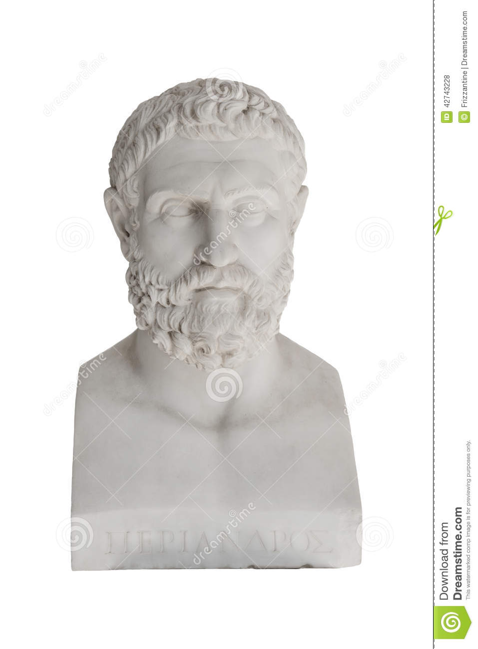 Isolated bust of Periandros (died in 583 before Christ) - replica in the Achilleon palace in Corfu.