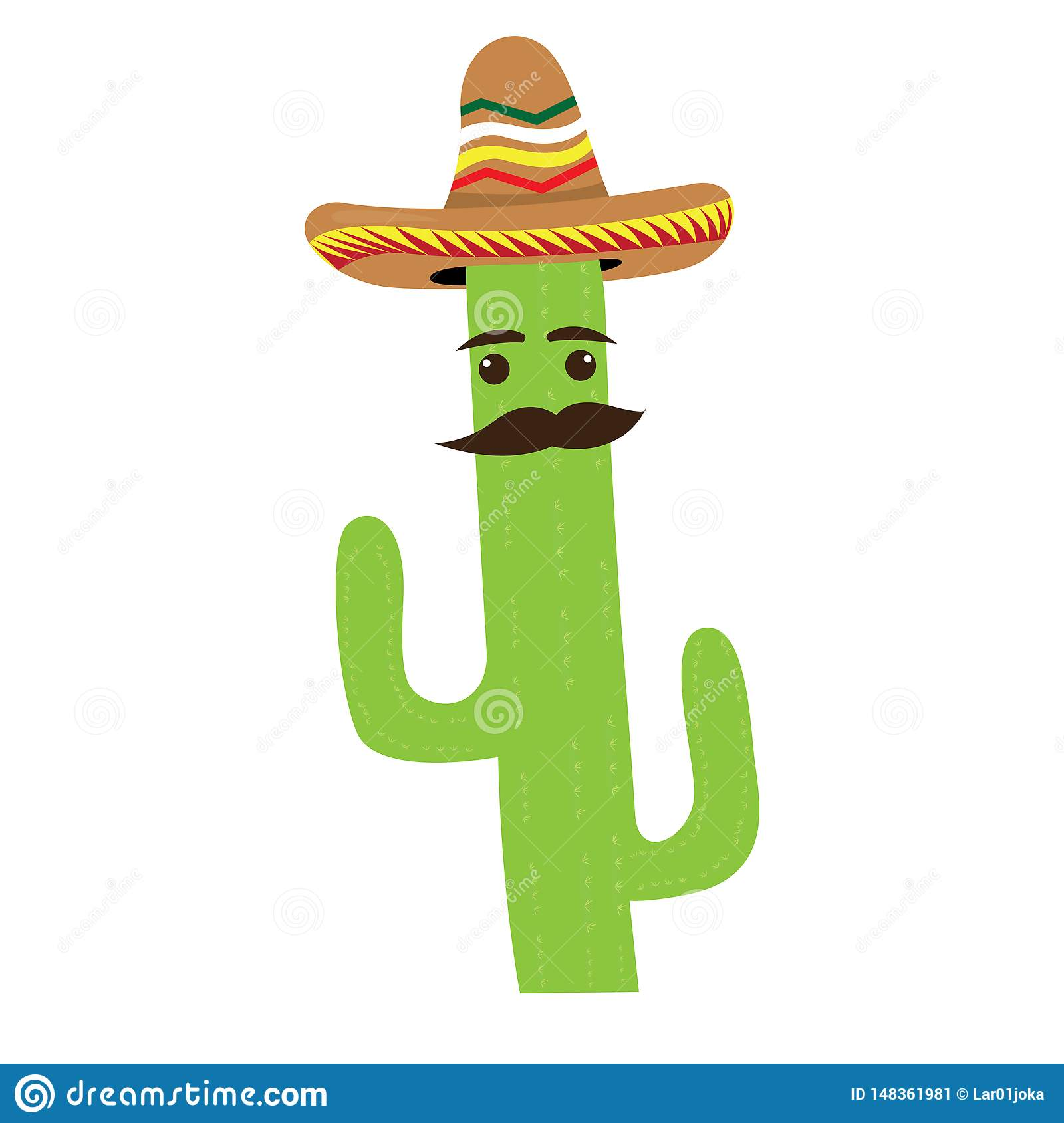 Isolated Cactus Cartoon With A Mexican Hat Stock Vector Illustration Of Pattern Summer 148361981