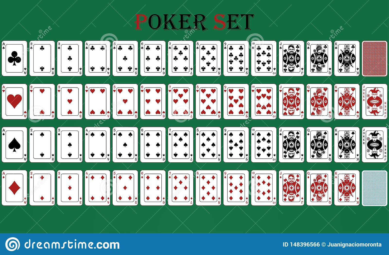 Isolated card poker game with reverse, on a green background