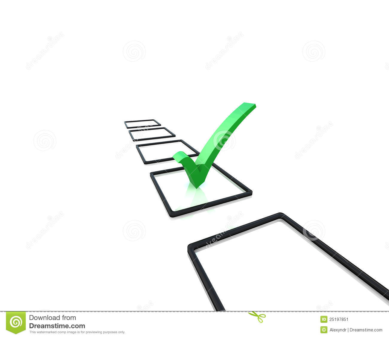 Isolated Check Box With Check Mark 3d Image Stock Illustration