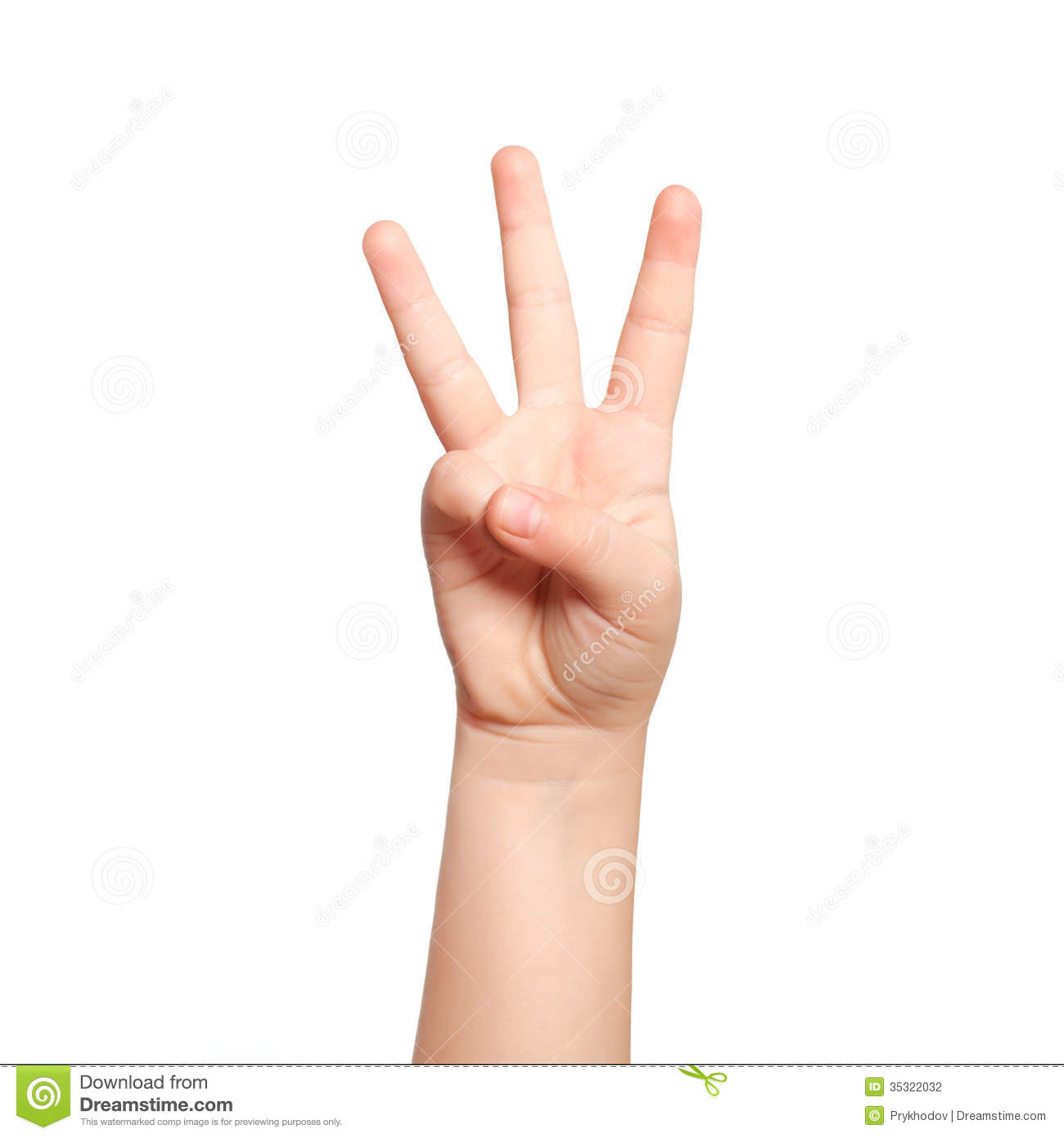 Isolated Child Hand Shows The Number Three Stock Photography - Image ...