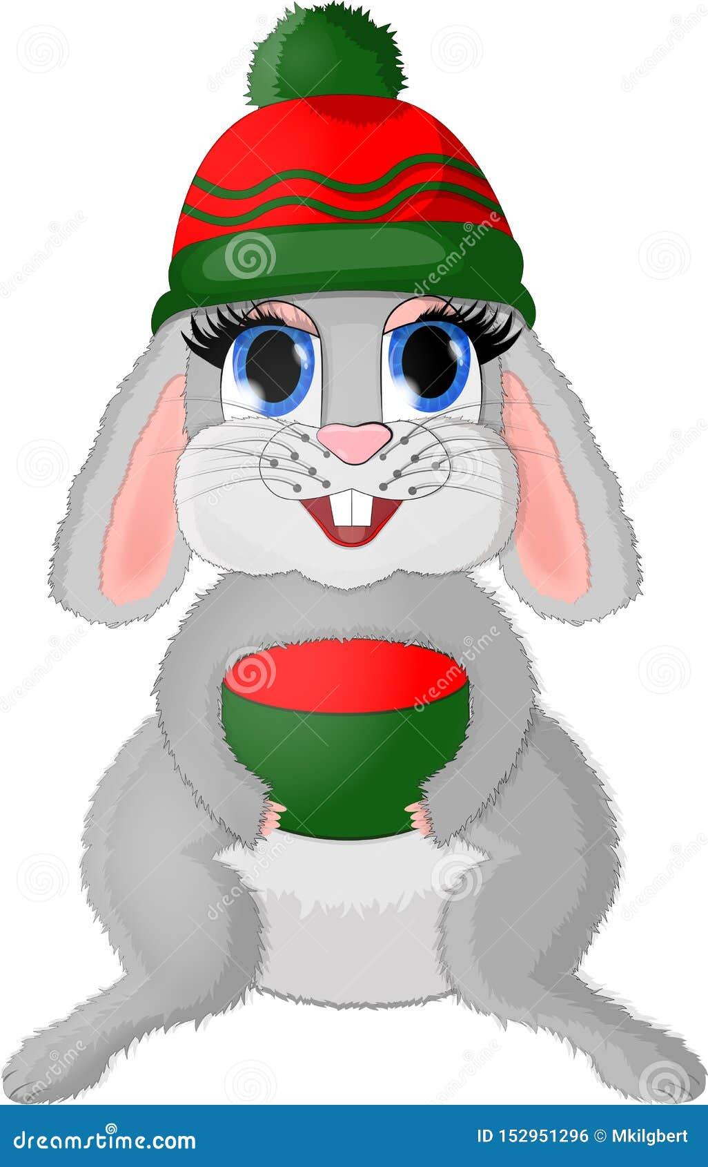 Isolated christmas bunny with giftbox