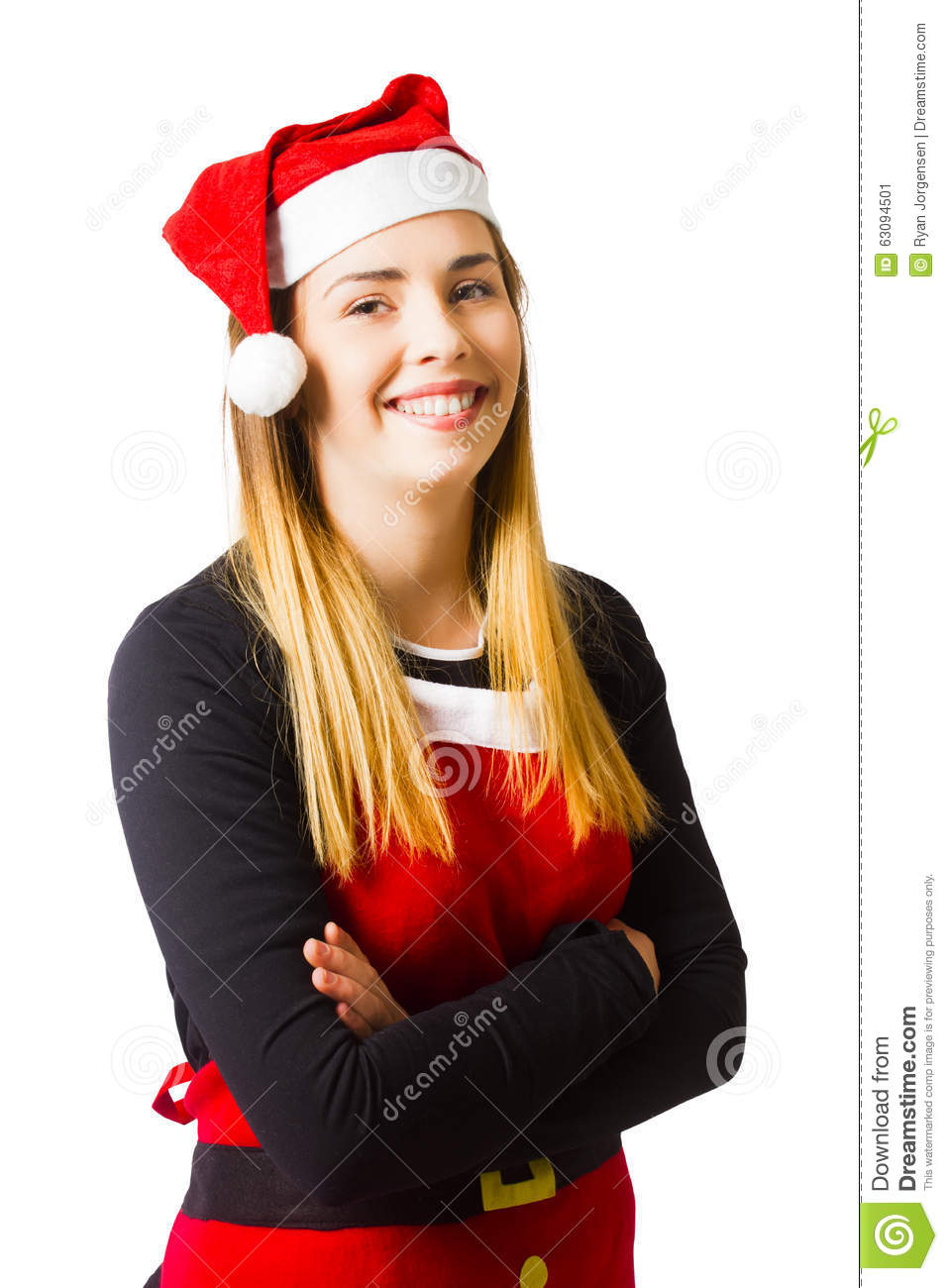 isolated christmas girl smiling in cooking apron stock image image