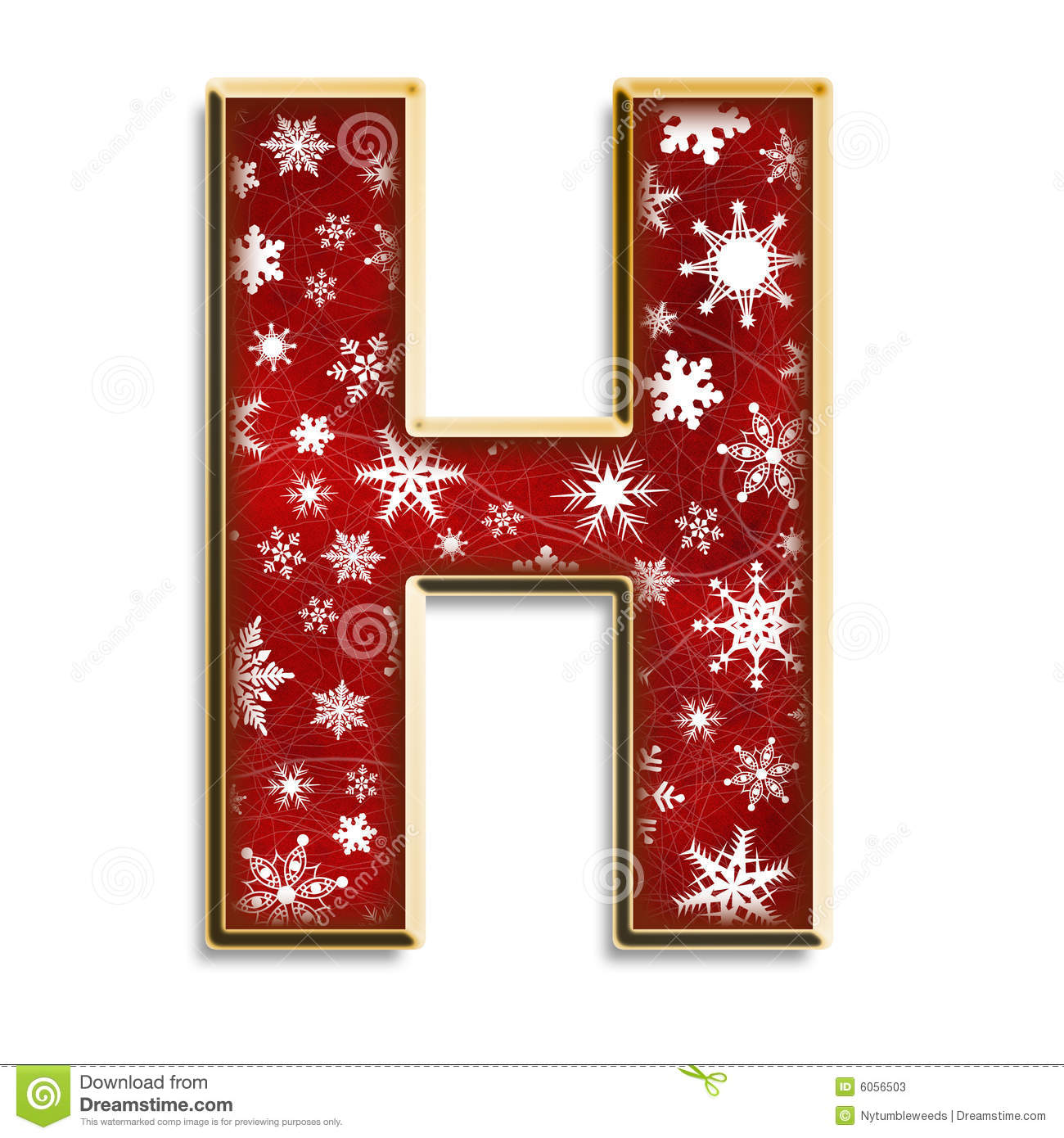 Isolated christmas letter h in red stock illustration