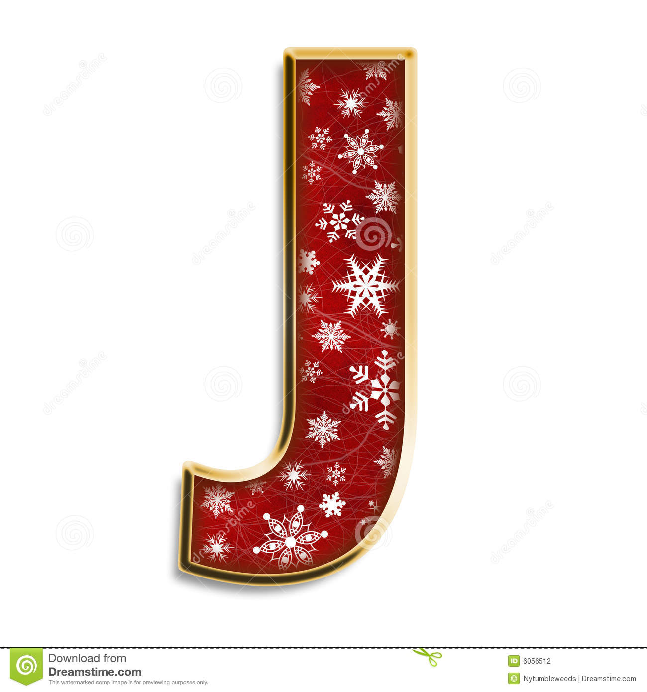 3d capital J in red with white snowflakes & gold border isolated on ...
