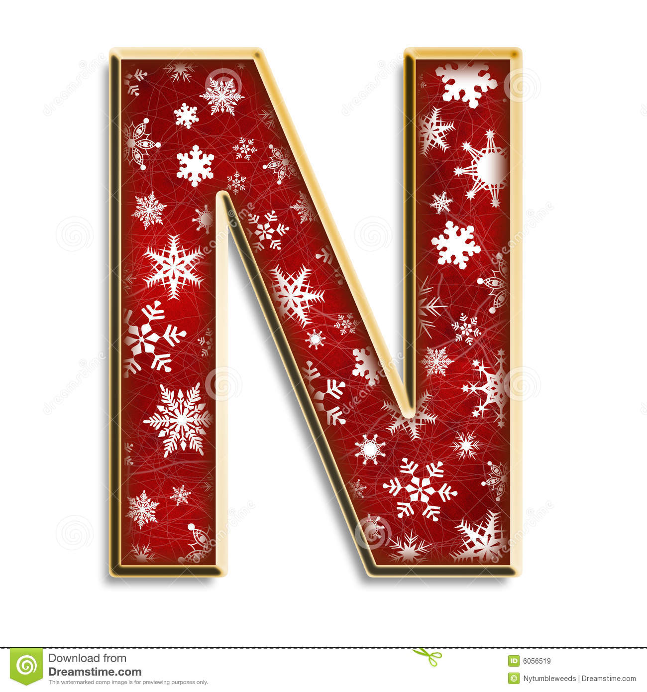 Isolated Christmas Letter N In Red Royalty Free Stock ...
