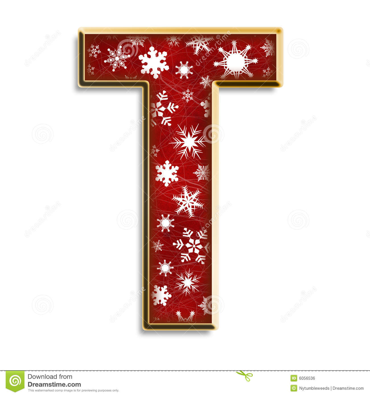 Merry Christmas Letter T.Isolated Christmas Letter T In Red Stock Illustration