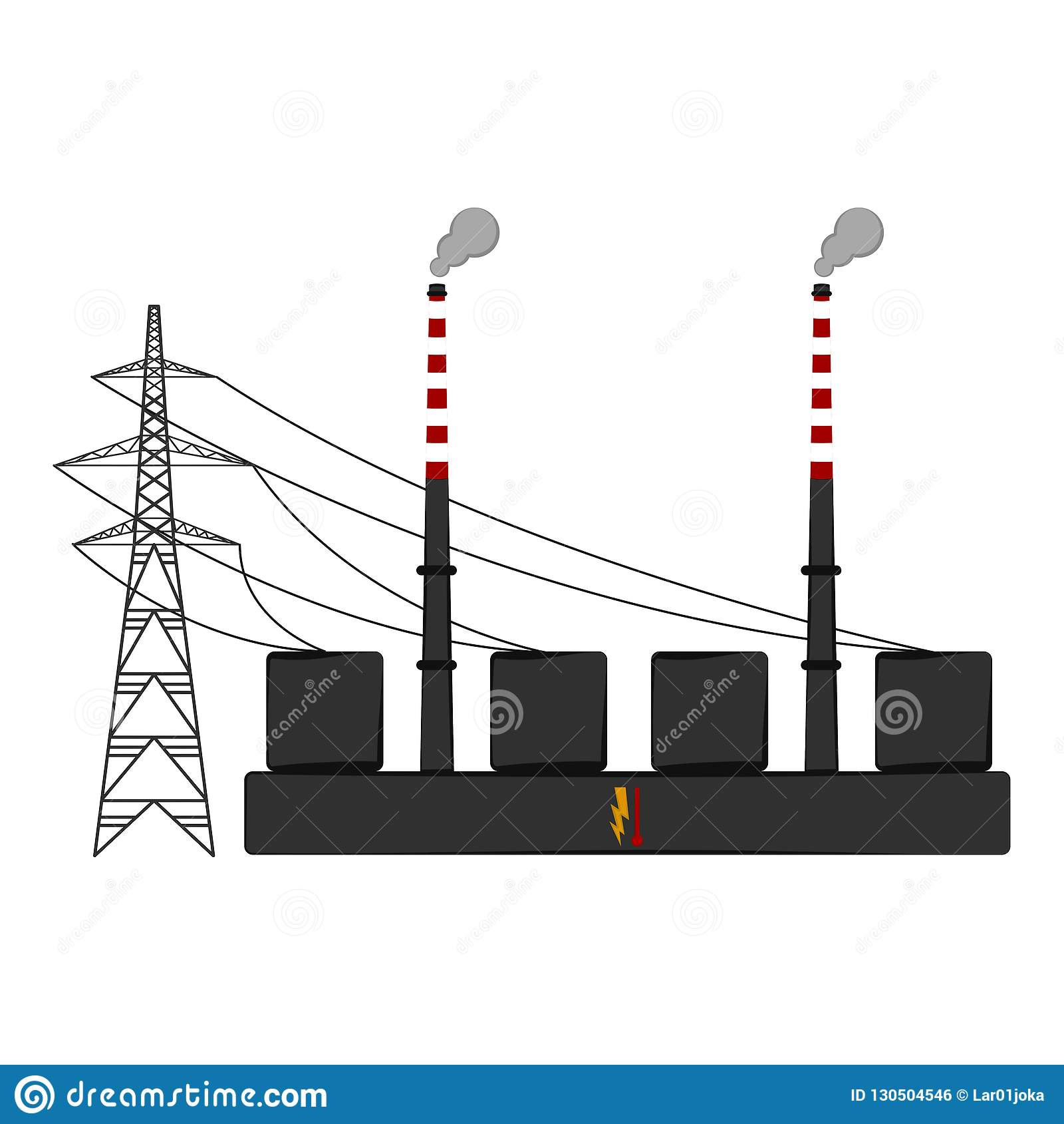 Isolated Coal Power Plant Stock Vector Illustration Of Energy 130504546