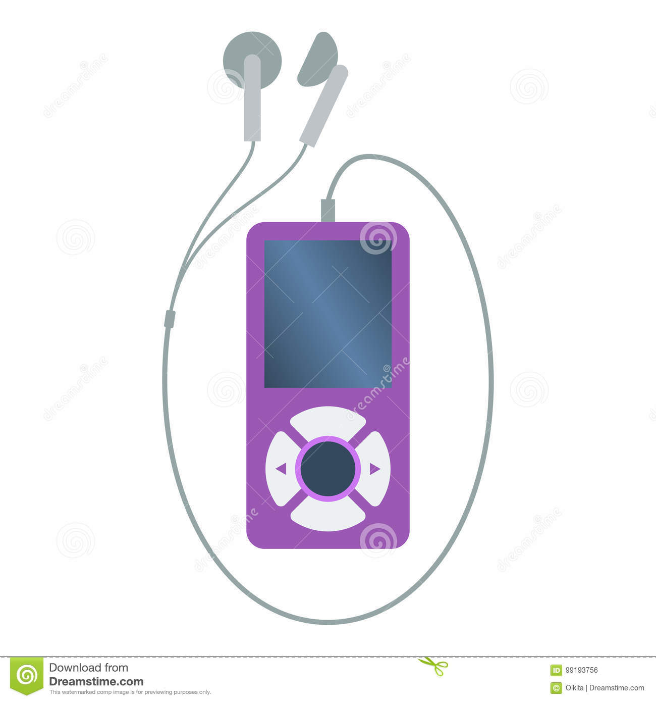 Isolated colored purple mp3 music player with earphones on white background. Flat design icon.