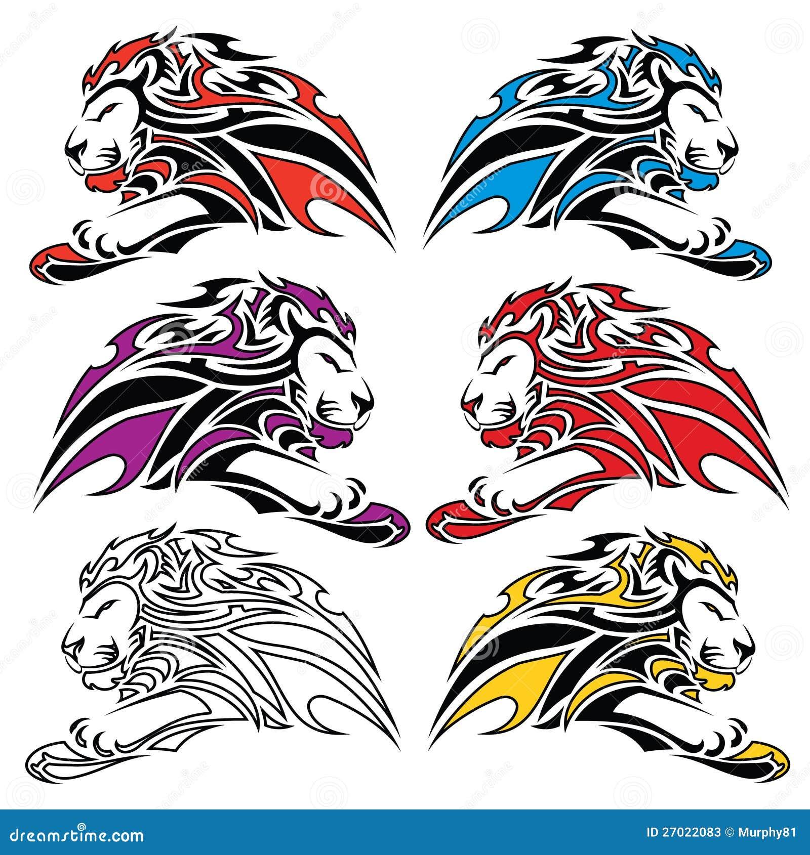 Roaring Lion Profile Tattoo Isolated Colorful Lion...
