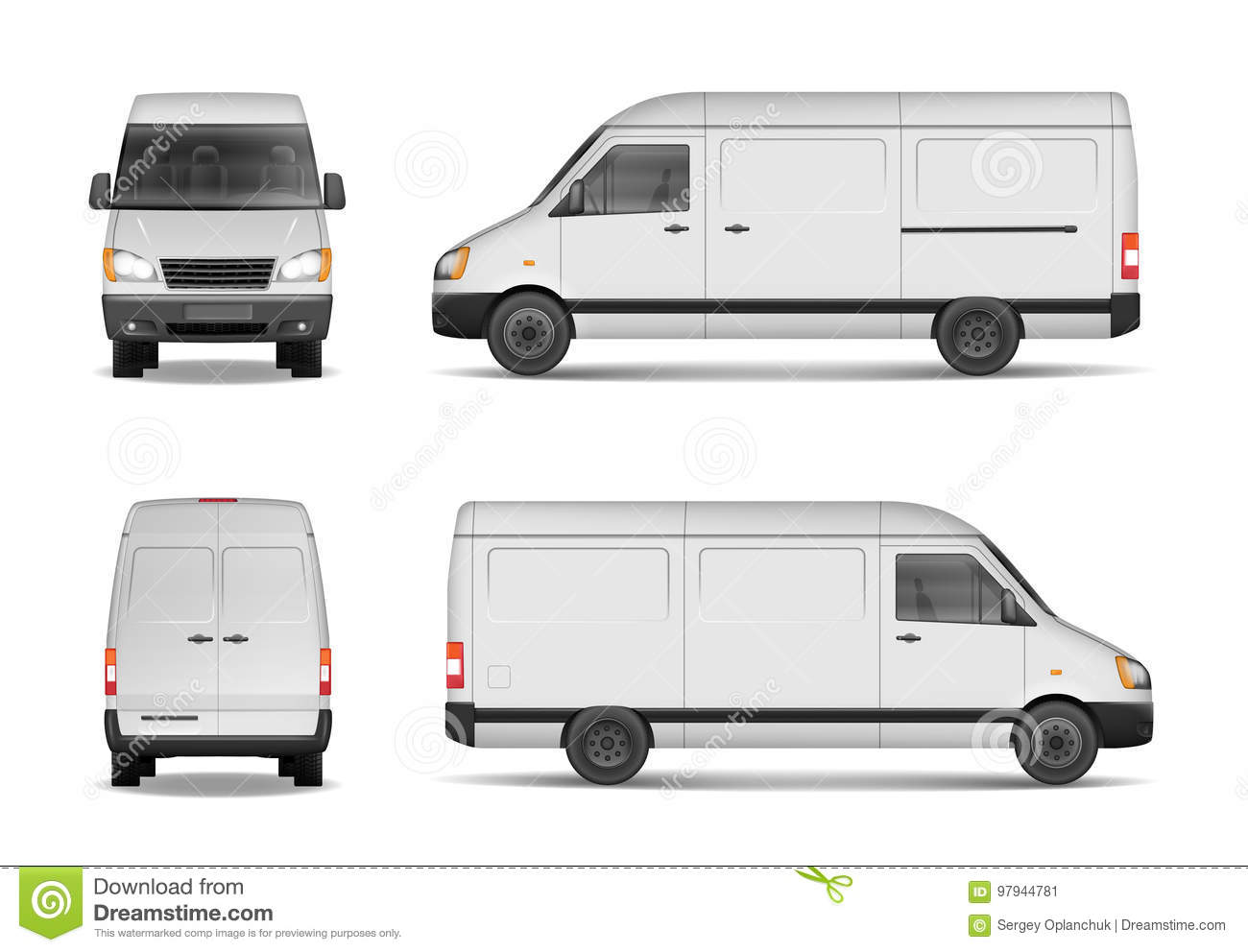 da96fb6d9221 Isolated commercial delivery vehicle set. White van vector template for car  branding and advertising. Mini bus from side