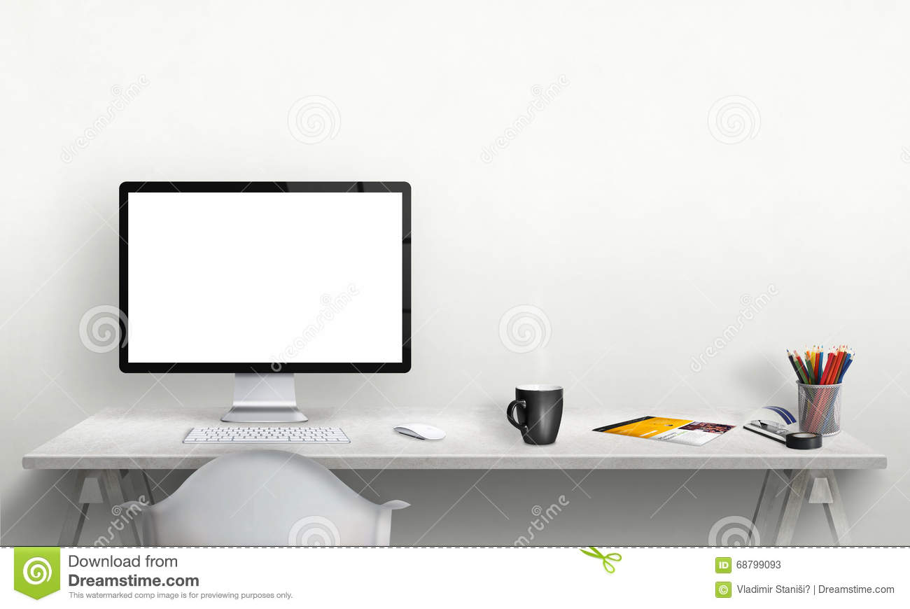 Isolated Computer Display For Mockup In Office Interior