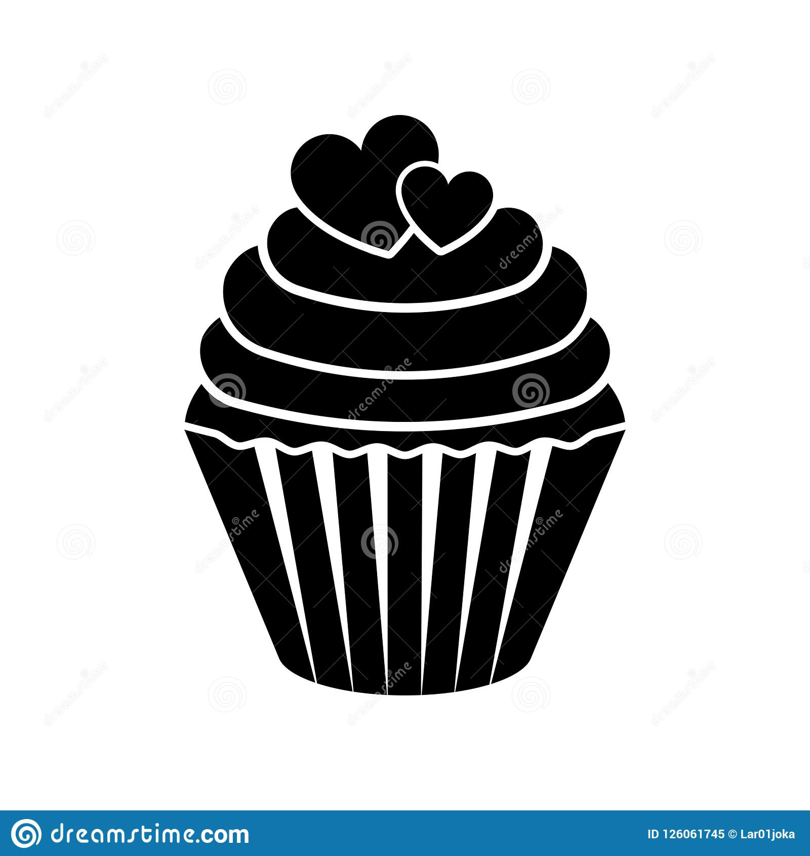 Isolated Cupcake Silhouette Icon Stock Vector ... (1600 x 1690 Pixel)
