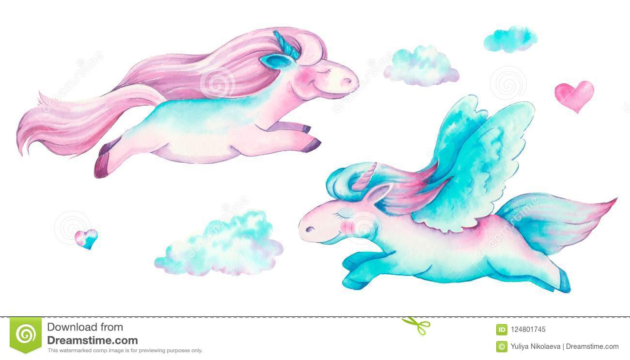 Isolated cute watercolor unicorn clipart. Nursery unicorns illustration. Princess unicorns poster.