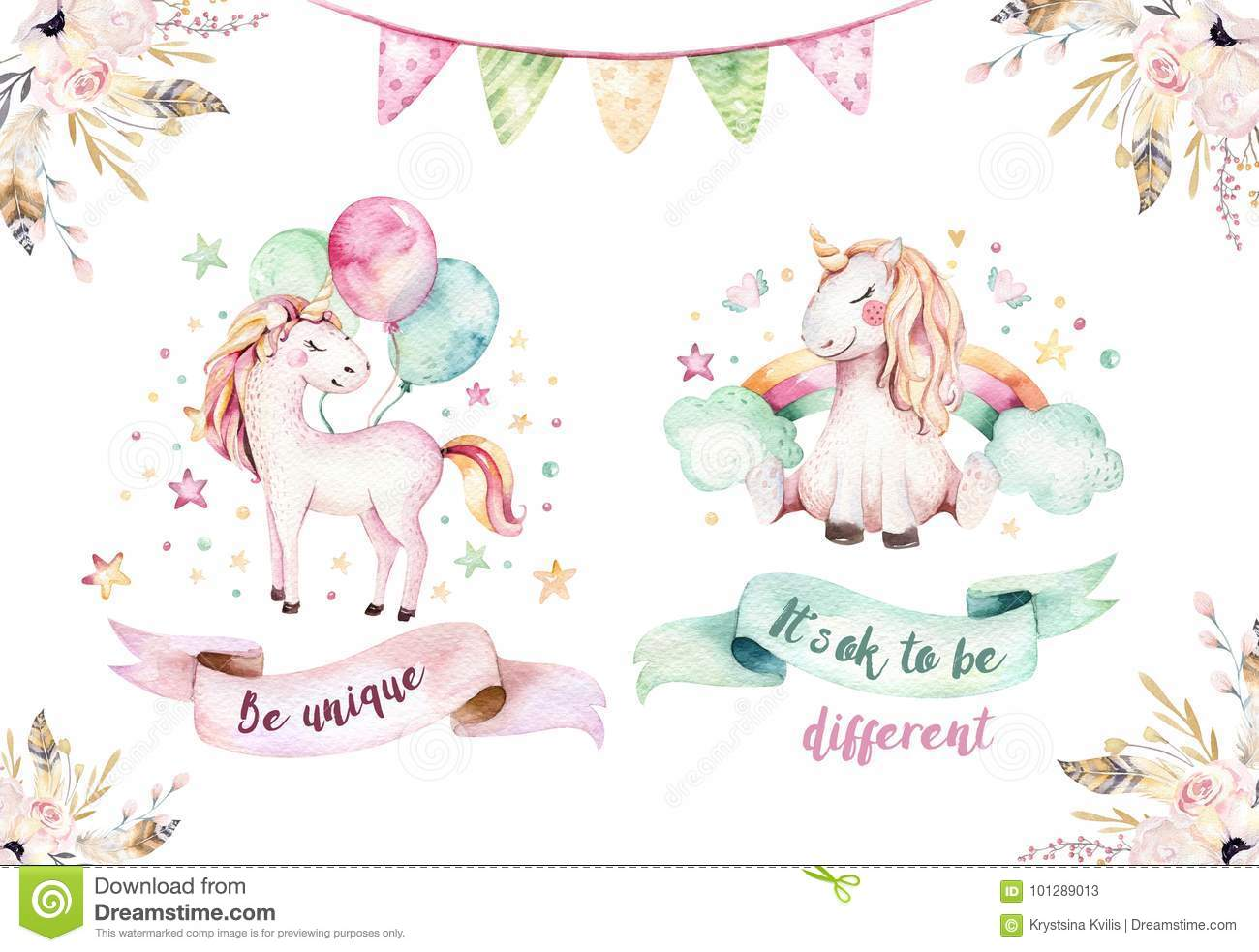 Isolated cute watercolor unicorn clipart. Nursery unicorns illustration. Princess rainbow unicorns poster. Trendy pink