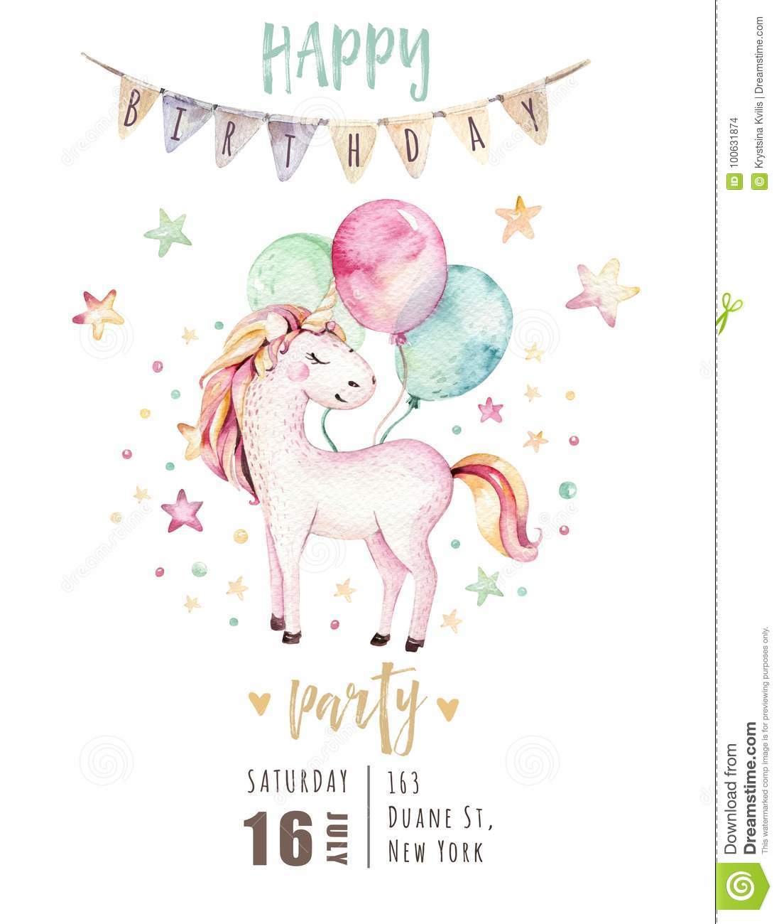Isolated cute watercolor unicorn invitation card. Nursery unicorns illustration. Princess rainbow unicorns poster