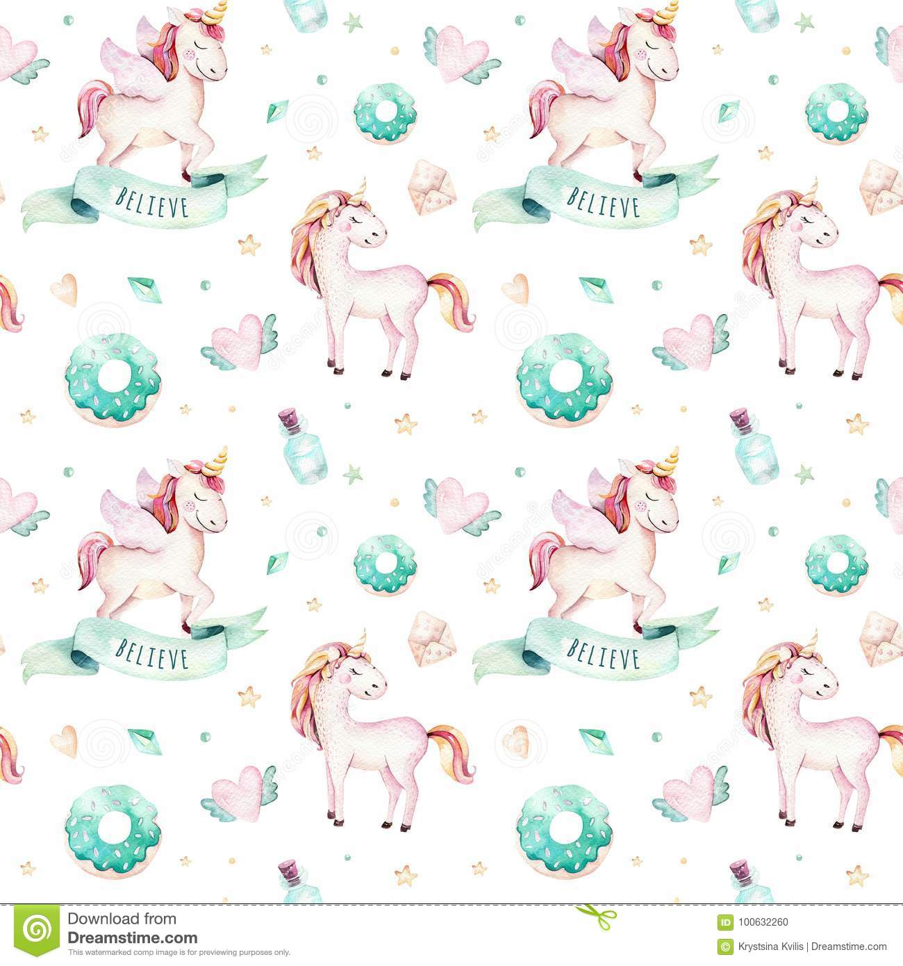Unicorn Pattern Simple Decorating Design