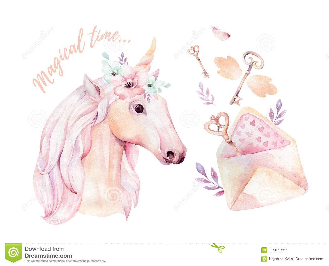 Isolated Cute Watercolor Unicorn Clipart With Flowers
