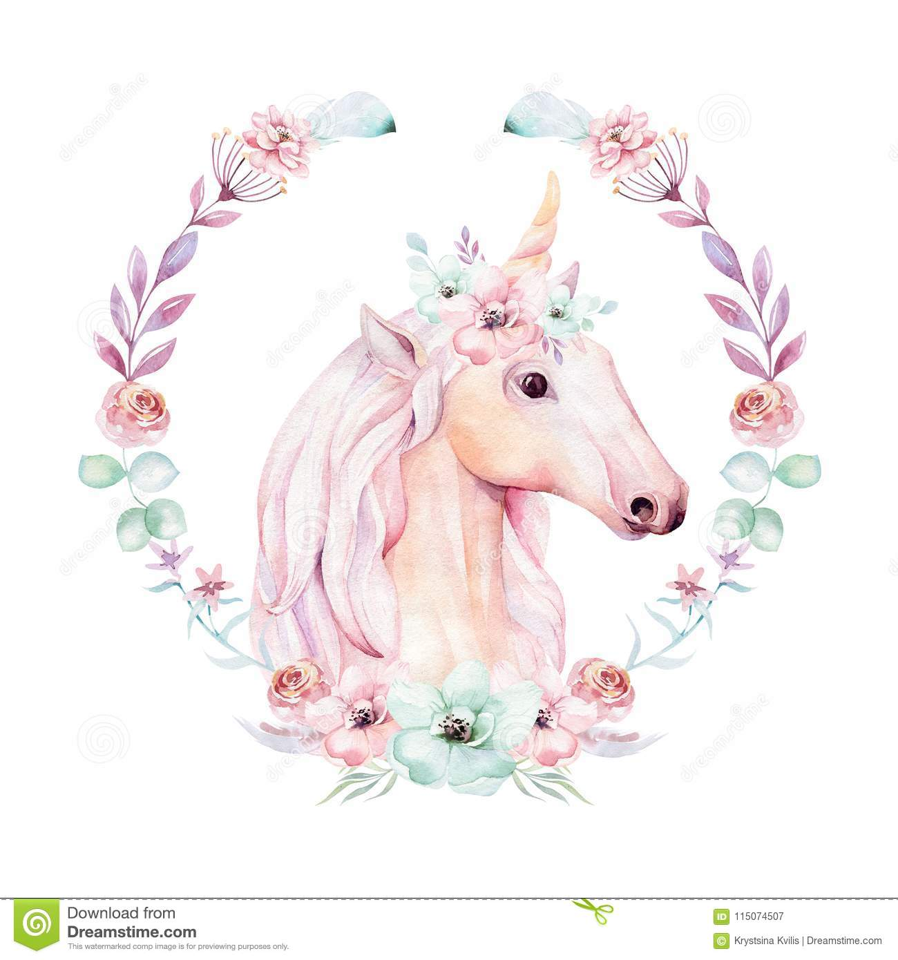 Isolated Cute Watercolor Unicorn Clipart With Flowers ...