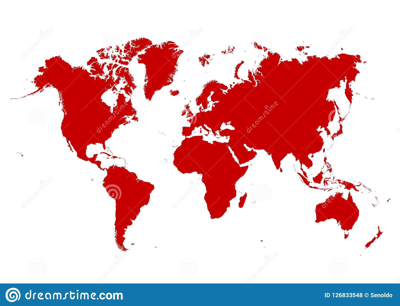 Isolated 2d Map Of The World With Red Continents And White
