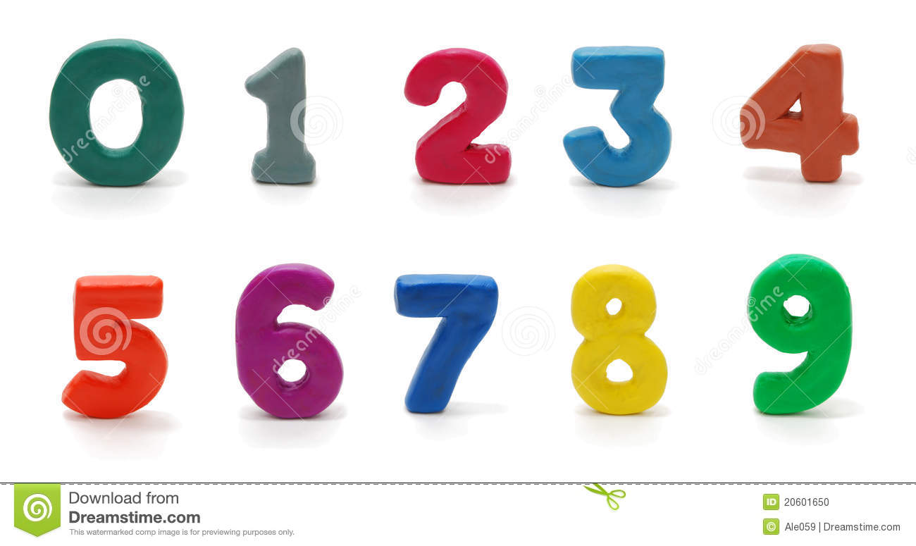 Six Clipart Black And White Isolated Digits 0 To 9...
