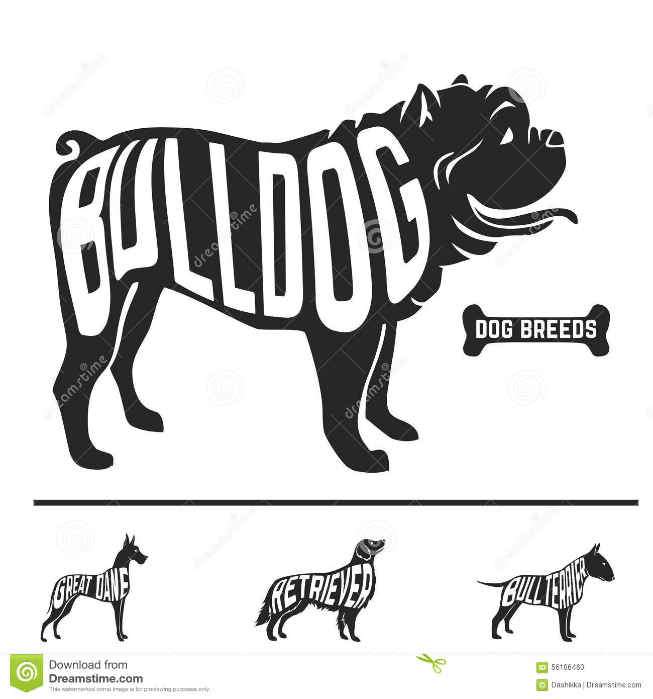 Isolated Dog Breed Silhouettes Set With Names Of Stock Vector Image 56106460