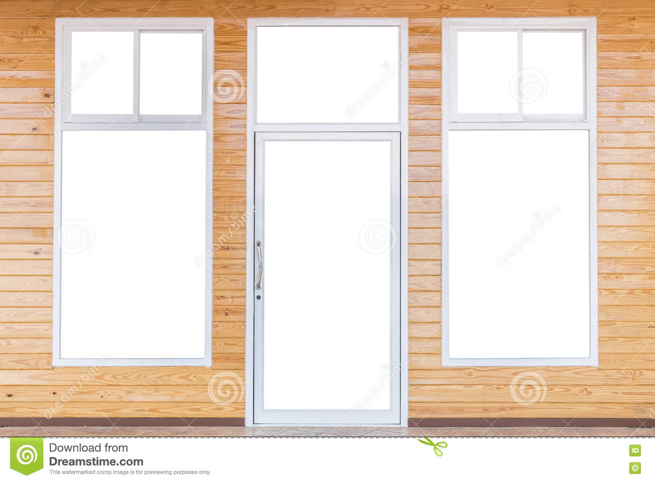 Isolated Of Door And Windows Frame On Bright Pine Wooden Wall Stock ...
