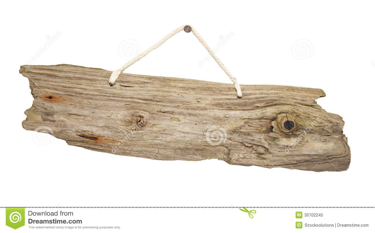 Isolated Driftwood Wooden Sign Board On String Royalty