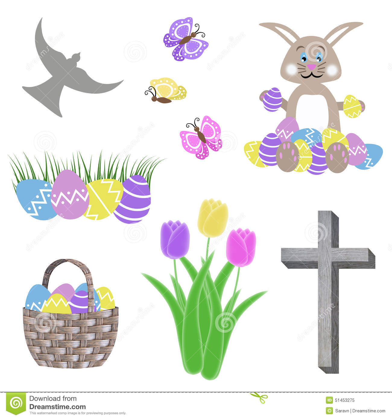 Isolated Easter Collage With Egg Basket Bunny Tulip Flowers Green Grass Butterflies Cross And Dove Stock Illustration