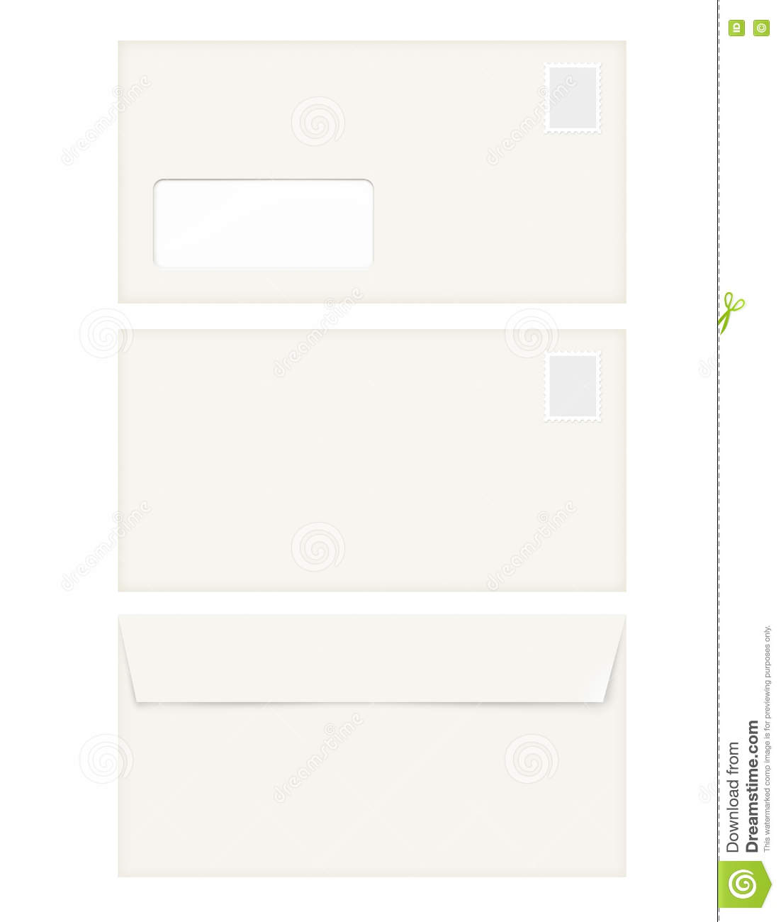 isolated empty window envelope template with stamp stock