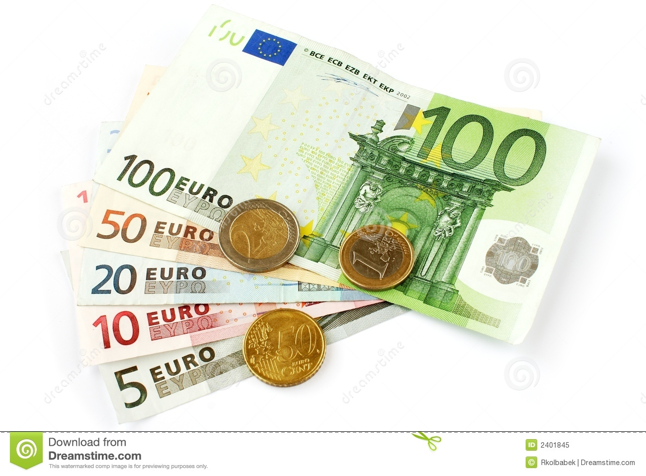 Isolated euro currency