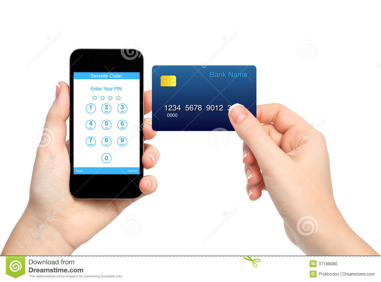Isolated Female Hands Holding Phone And Credit Card And