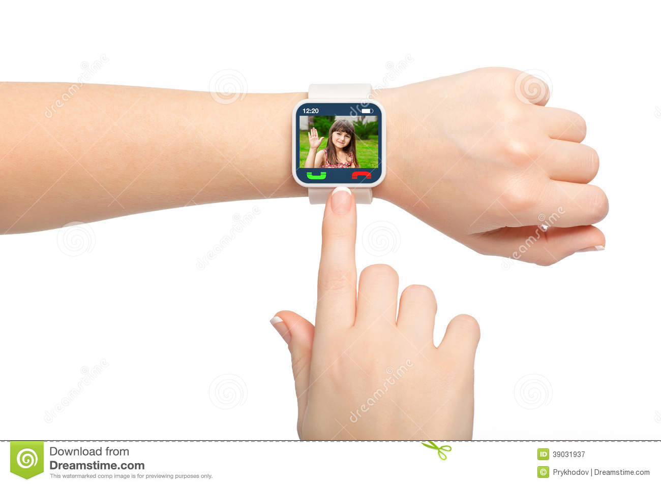 Isolated female hands with smartwatch video call
