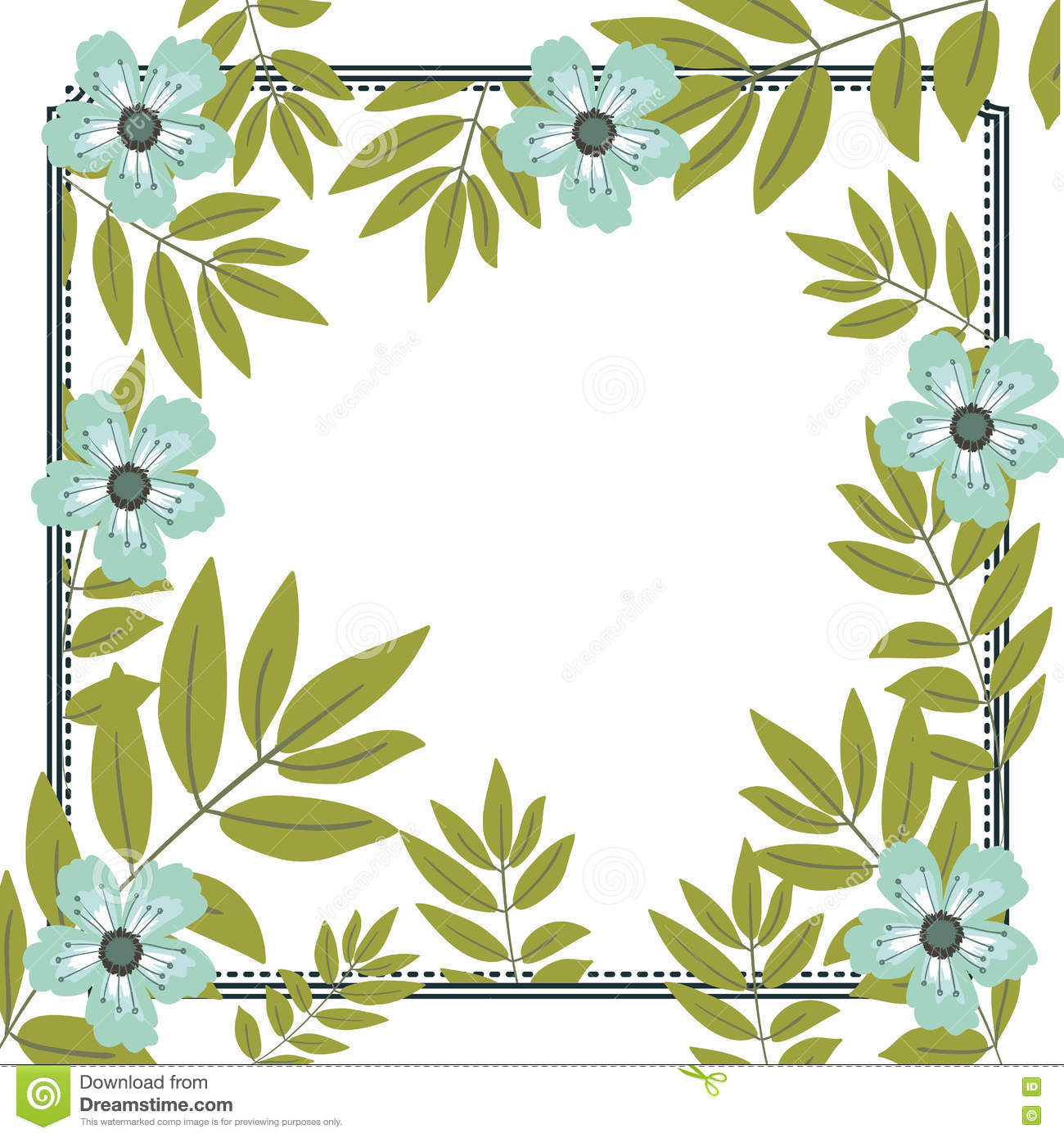Isolated Flowers And Leaves Frame Design Stock Vector Illustration