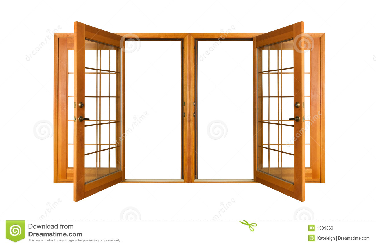 French Doors Open : Isolated french doors clipping path stock image