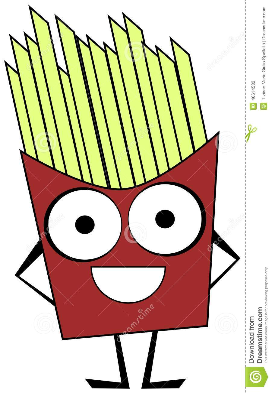 cute french fries cartoon isolated stock vector image