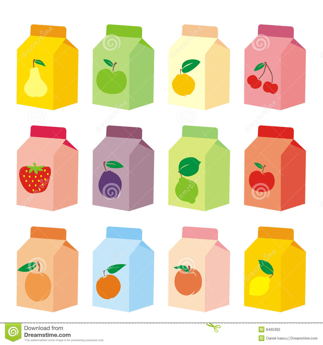 Isolated Fruit Juice Carton Boxes Stock Photography - Image: 8465392