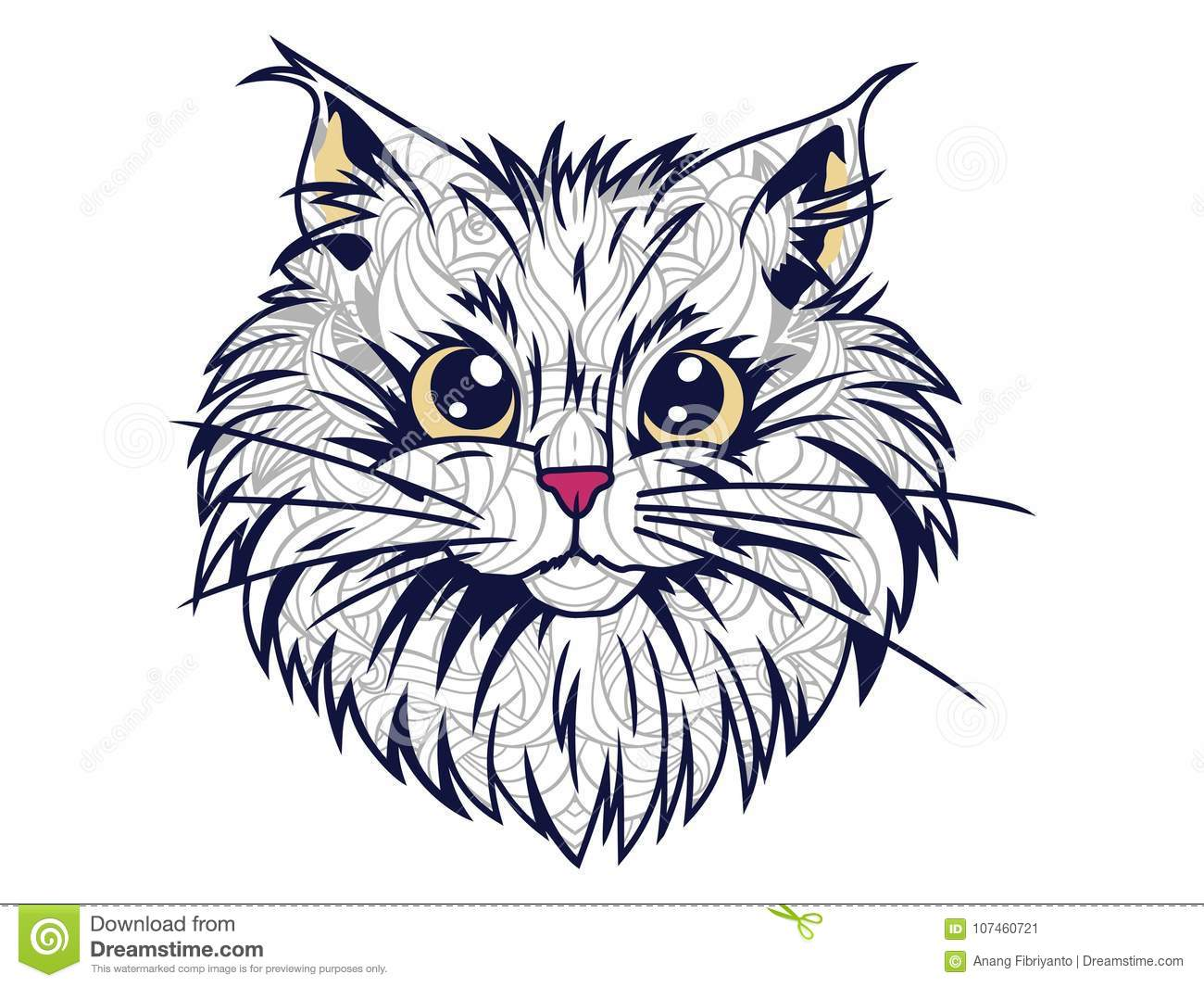 isolated funny cat head white background hand drawn doodle adult stress release coloring page