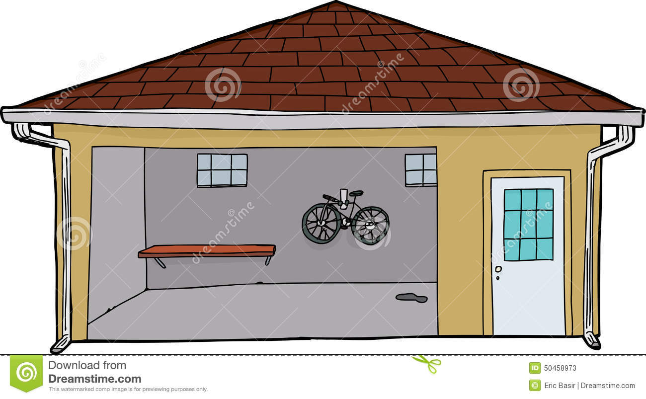 Hands On Garage : Isolated garage with bike and doorway stock illustration