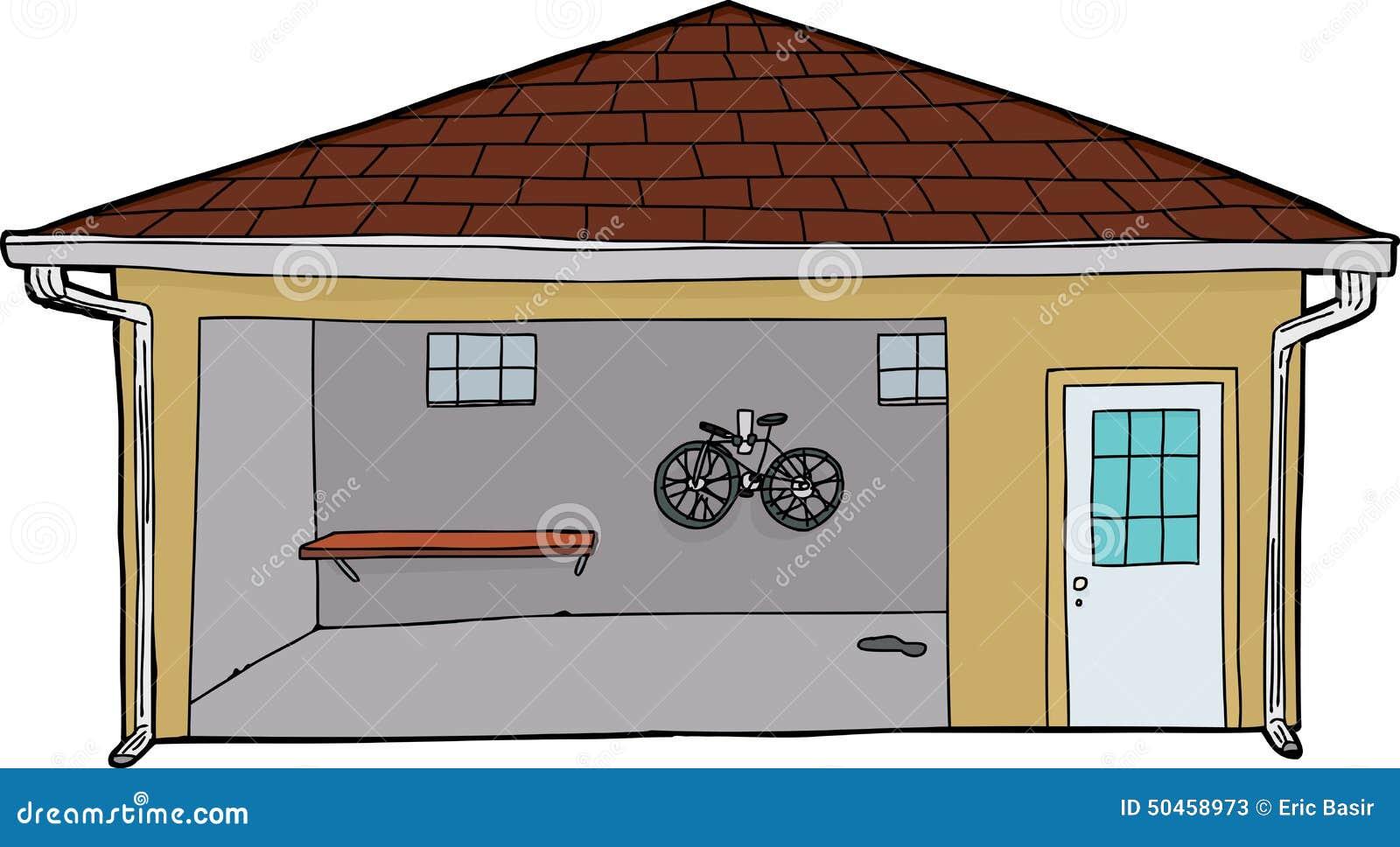 Garage Door Clip Art : Isolated garage with bike and doorway stock illustration