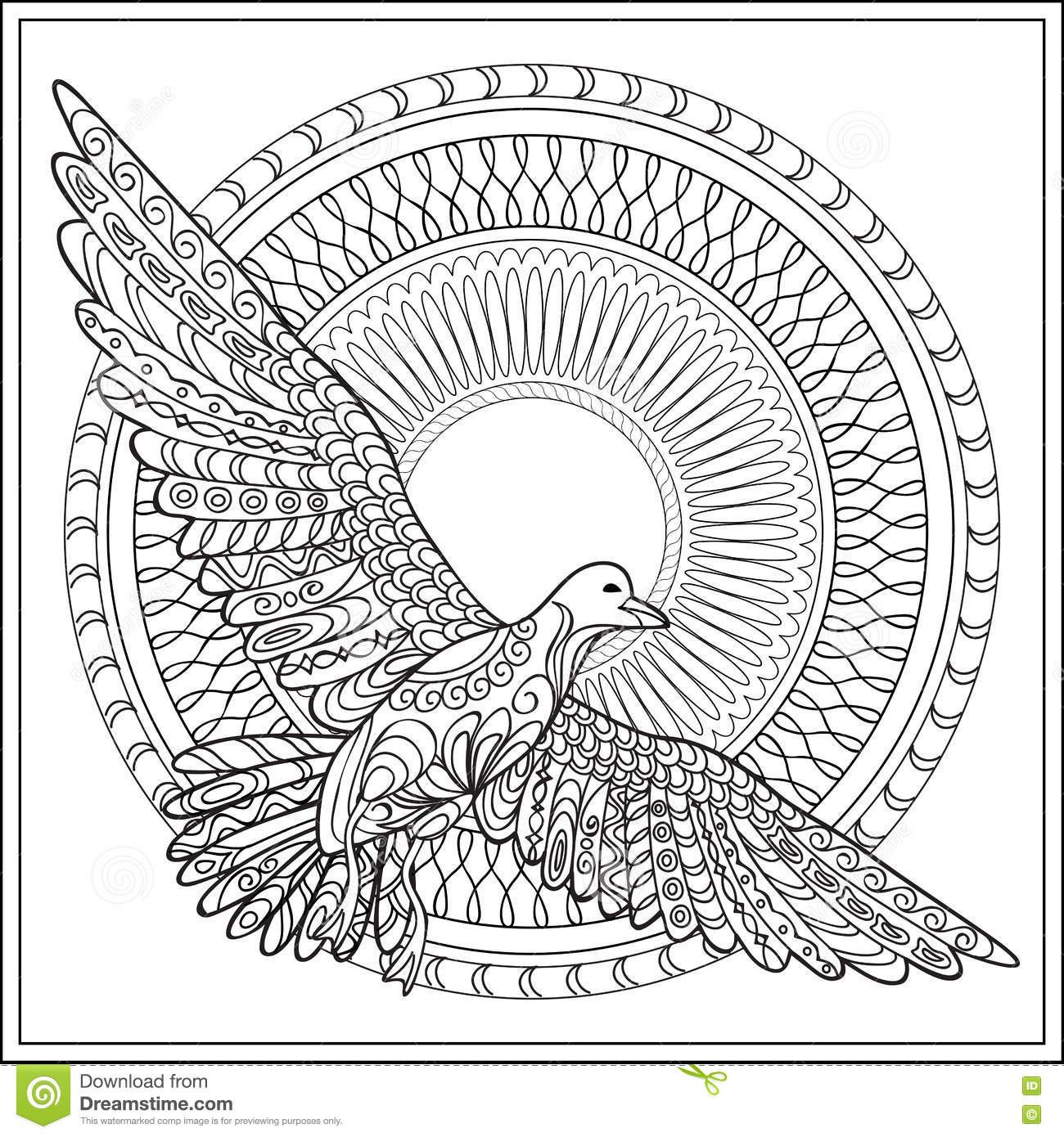 Vector Outline Abstract Boho Feathers On A White